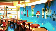 フクロウカフェオープン【店内壁スプレーアート】の画像